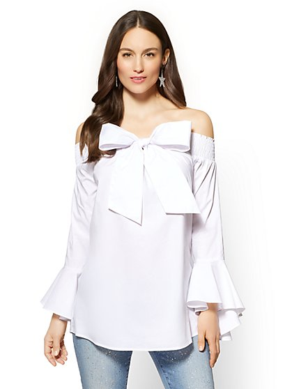 Bow-Accent Off-The-Shoulder Poplin Shirt - White - New York & Company