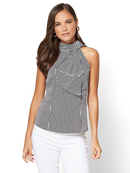 Bow-Accent Poplin Halter Blouse - Stripe - New York & Company