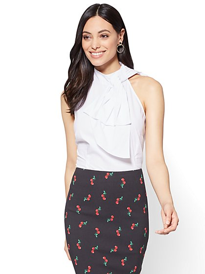 Bow-Accent Poplin Halter Blouse - White - New York & Company