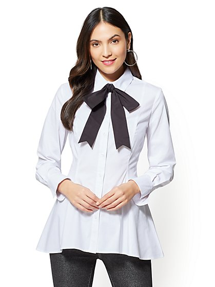 Bow-Accent Shirt - White - New York & Company