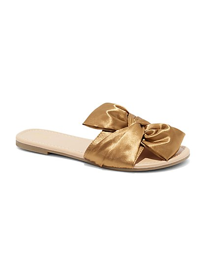 Bow-Accent Slide Sandal - New York & Company