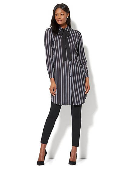 Bow-Accent Tunic Shirt - Stripe - New York & Company