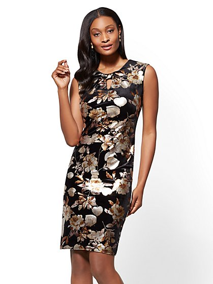 Bow-Accent Velvet Sheath Dress - Metallic-Foil Floral - New York & Company