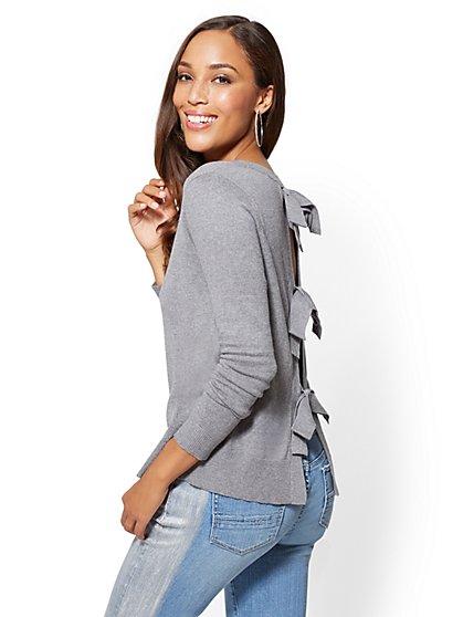 Bow-Back Crewneck Sweater - New York & Company