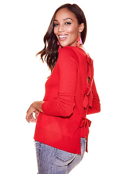 Bow-Back Crewneck Sweater - New York & Company