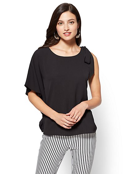 Bow-Detail Asymmetrical Blouse - New York & Company