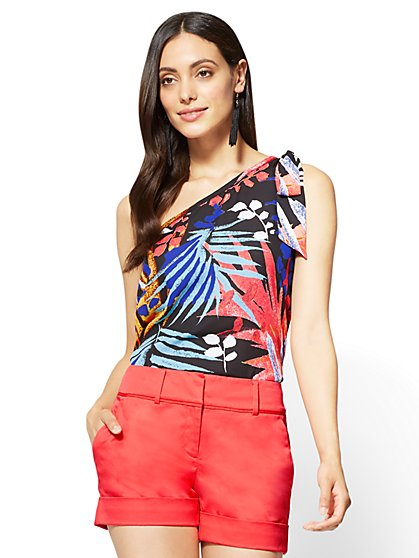 Bow-Detail One-Shoulder Blouse - Palm Print - New York & Company