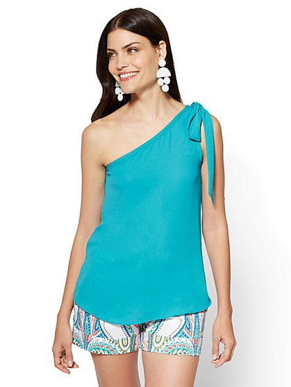Bow-Detail One-Shoulder Blouse - Turquoise - New York & Company