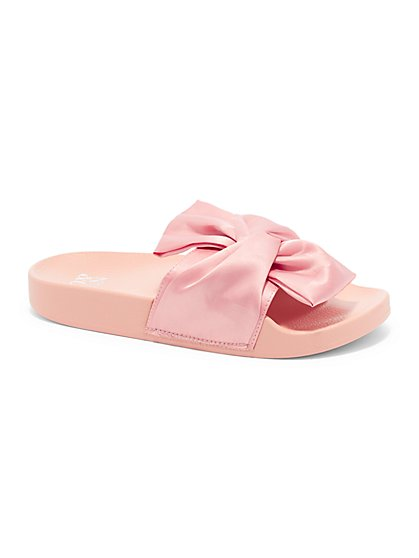 Bow-Detail Pool Slide Sandal - New York & Company