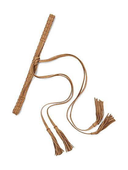 Braided Fringe-Trim Belt  - New York & Company