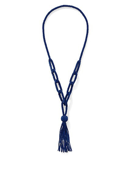 Braided Tassel Pendant Necklace   - New York & Company