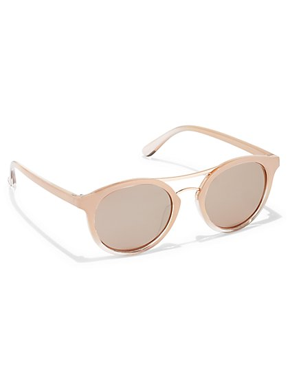 Brow Bar-Accent Round Sunglasses - New York & Company