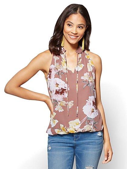 Bubble-Hem Halter Blouse -  Floral - New York & Company