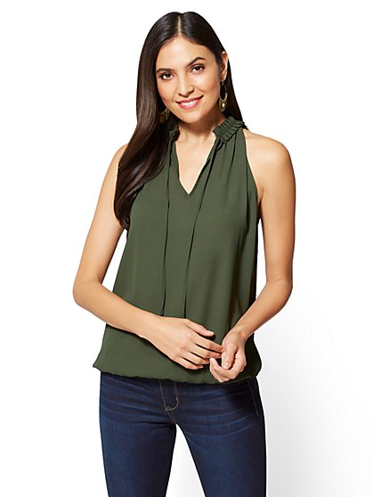 Bubble-Hem Halter Blouse - New York & Company