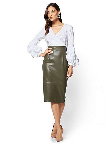 Bubble-Sleeve Faux-Leather Dress  - New York & Company