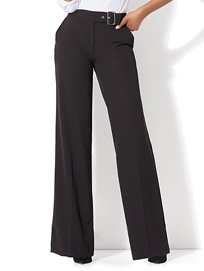 Buckled Palazzo Pant - Black - New York & Company