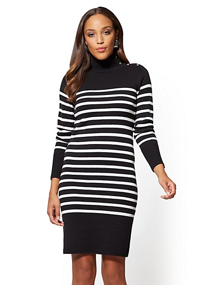 Button-Accent Sweater Dress - Stripe - New York & Company