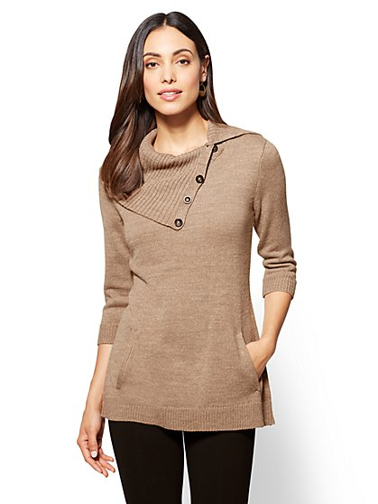 Button-Accent Tunic Sweater - New York & Company