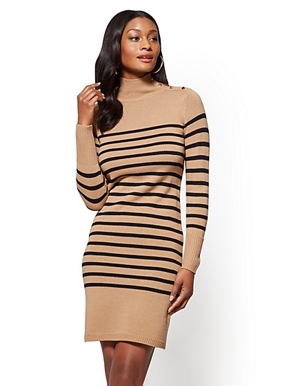 Button-Accent Turtleneck Sweater Dress - Stripe - New York & Company