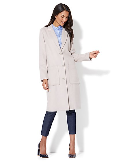 Button-Front Wool-Blend Coat - New York & Company