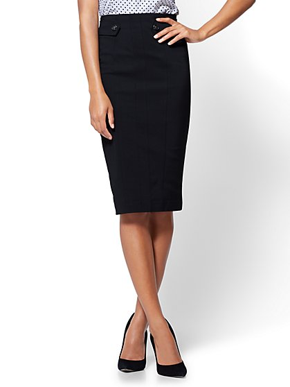 Button-Tab Pencil Skirt - All-Season Stretch - Black - New York & Company