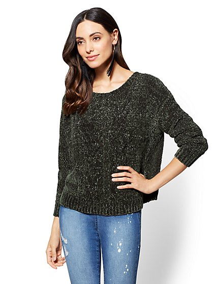 Cable-Knit Chenille Sweater - New York & Company