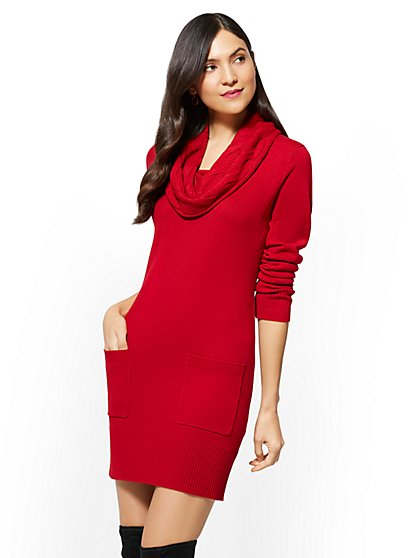 Cable-Knit Cowl-Neck Sweater Dress - New York & Company