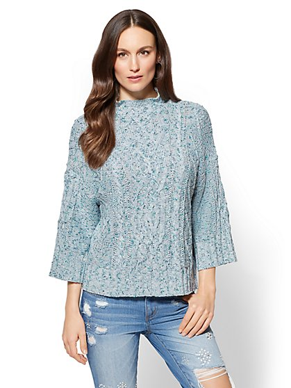 Cable-Knit Mock-Neck Sweater - New York & Company