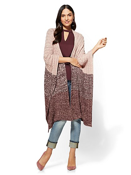 Cable-Knit Poncho - Colorblock - New York & Company