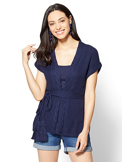 Cable-Knit Short-Sleeve Cardigan - New York & Company