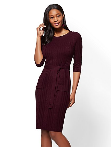 Cable-Knit Sweater Dress - New York & Company