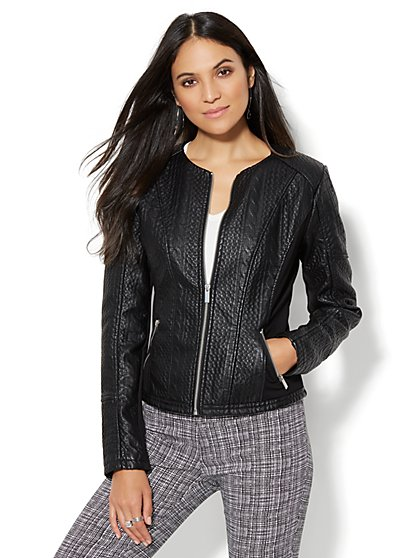 Cable-Knit Textured Faux-Leather Jacket  - New York & Company
