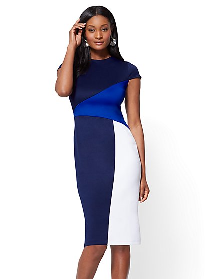 Cap-Sleeve Colorblock Sheath Dress - New York & Company