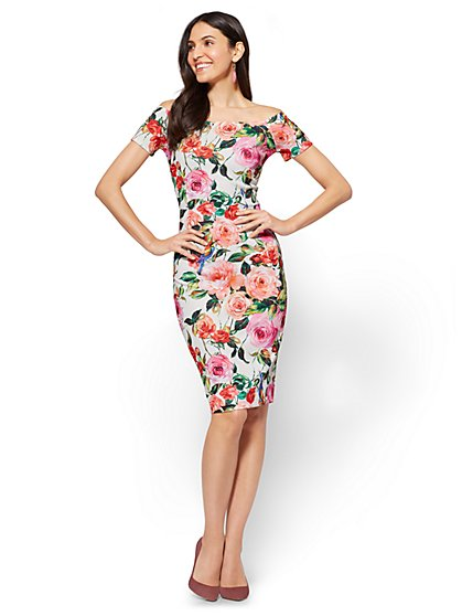 Cap-Sleeve Sheath Dress - Floral - New York & Company