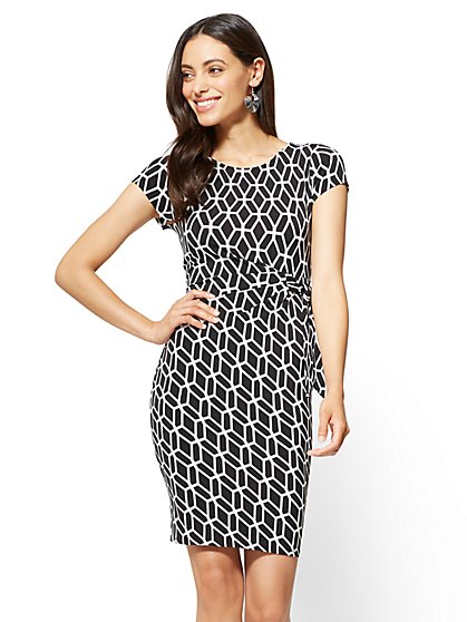 Cap-Sleeve Sheath Dress - Graphic Print - New York & Company
