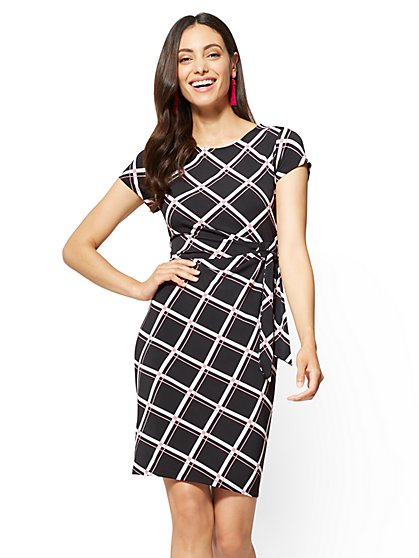 Cap-Sleeve Sheath Dress - Linear Print - New York & Company