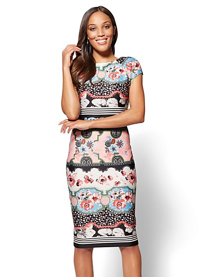 Cap-Sleeve Sheath Dress - Multi Print - New York & Company