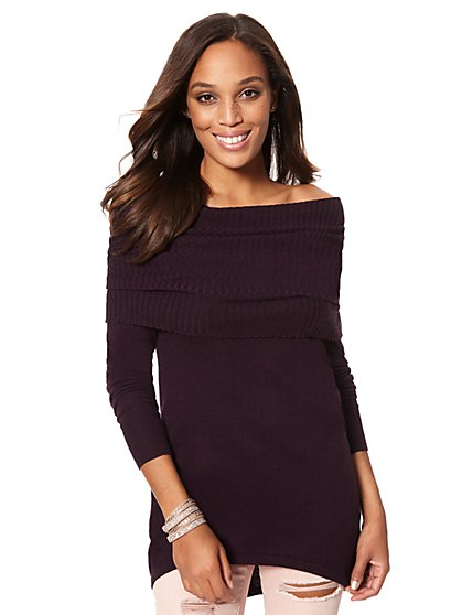Cashmere Touch Off-The-Shoulder Sweater - New York & Company