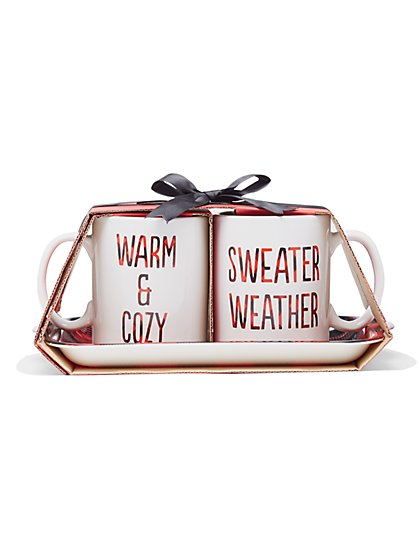Ceramic Mugs & Tray Gift Set - New York & Company
