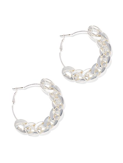 Chain-Link Accent Hoop Earring  - New York & Company