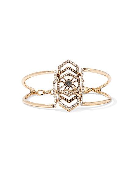 Chain-Link Cuff Bracelet / Dazzling Faux-Stone Bracelet - New York & Company