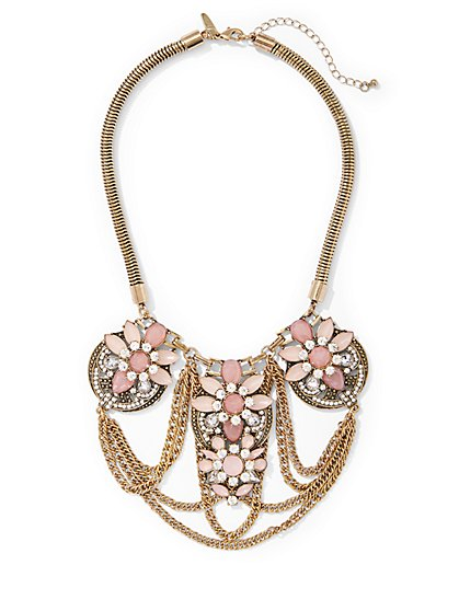 Chain-Link Floral Statement Necklace  - New York & Company