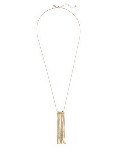 Chain-Link Fringe Pendant Necklace  - New York & Company