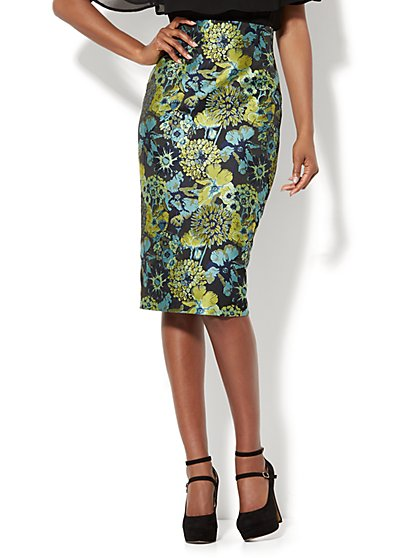 Charisma Jacquard Pencil Skirt - New York & Company