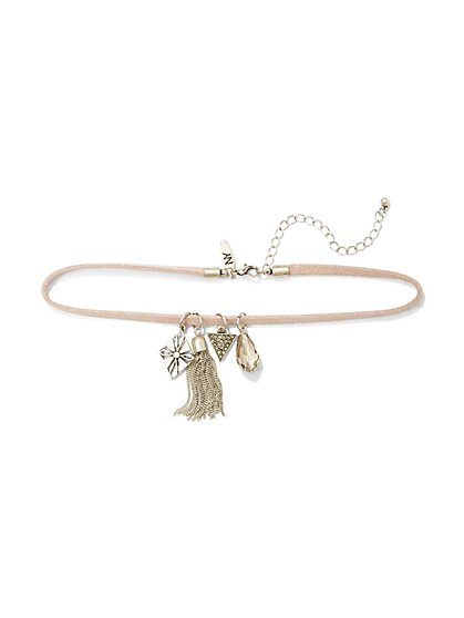 Charm-Accent Choker Necklace - Blush  - New York & Company