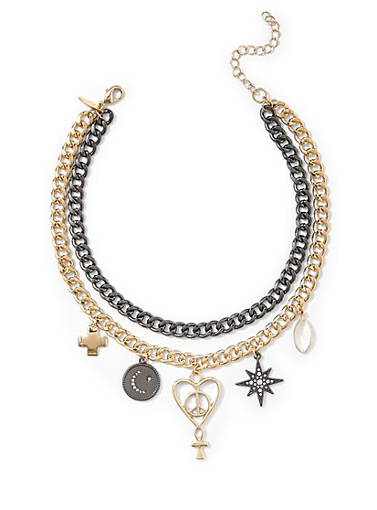 Charm-Accent Choker Necklace - New York & Company