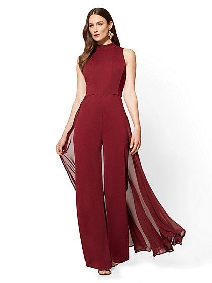 Chiffon-Overlay Jumpsuit - Tall - New York & Company