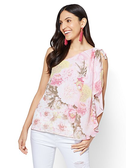 Chiffon-Overlay One-Shoulder Blouse - New York & Company