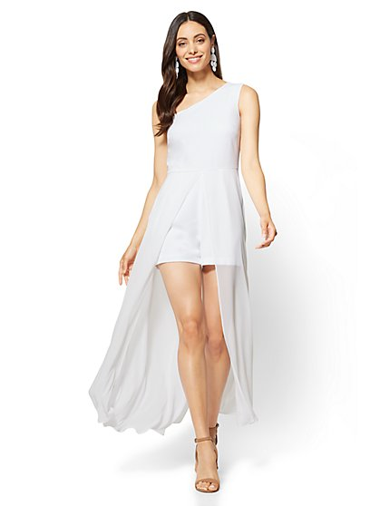 Chiffon-Overlay One-Shoulder Romper - New York & Company