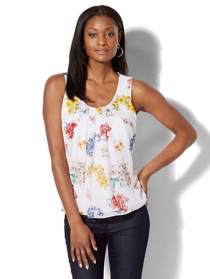 Chiffon Overlay Shell - Floral Print - New York & Company